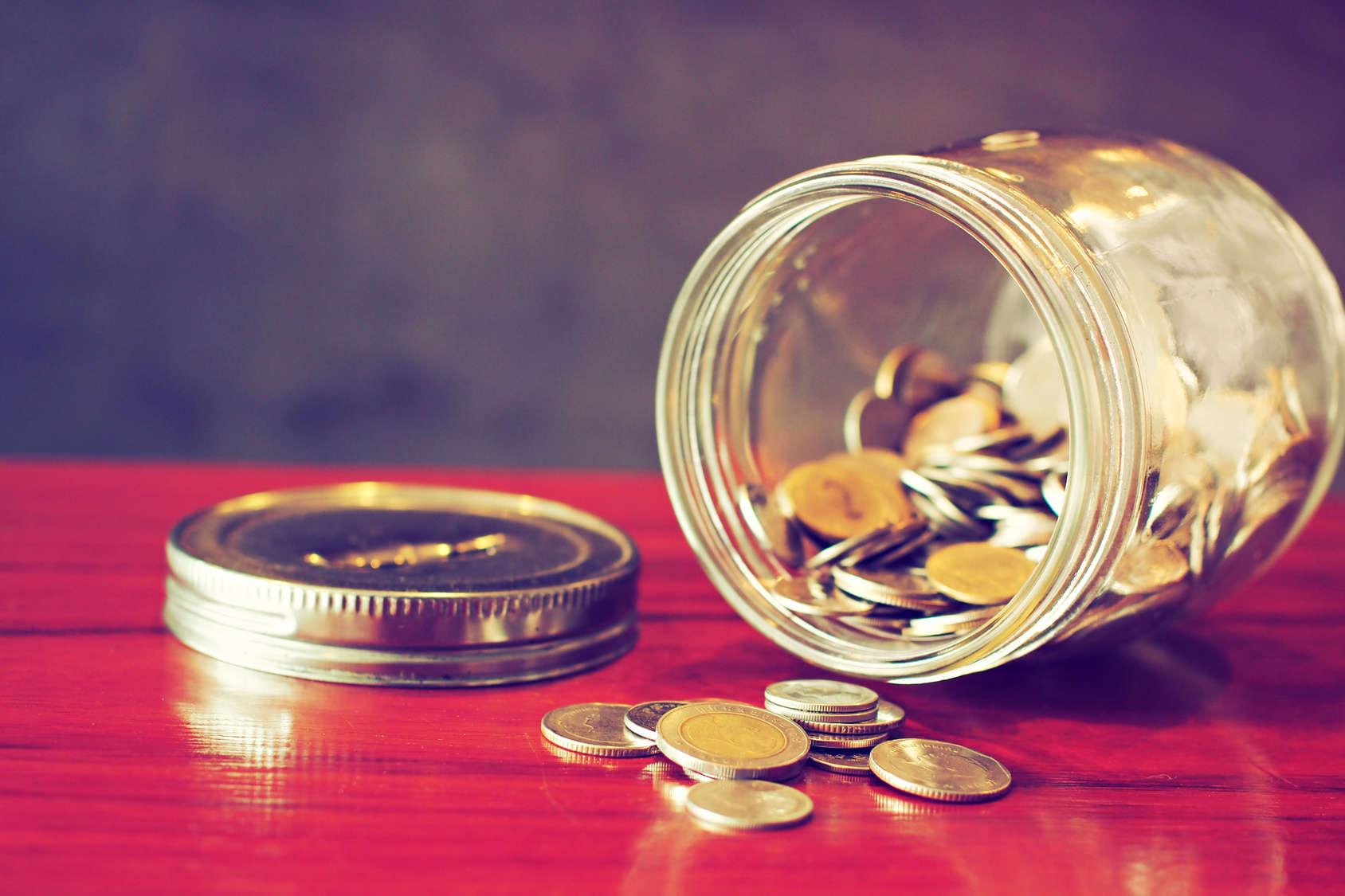 coin in money jar