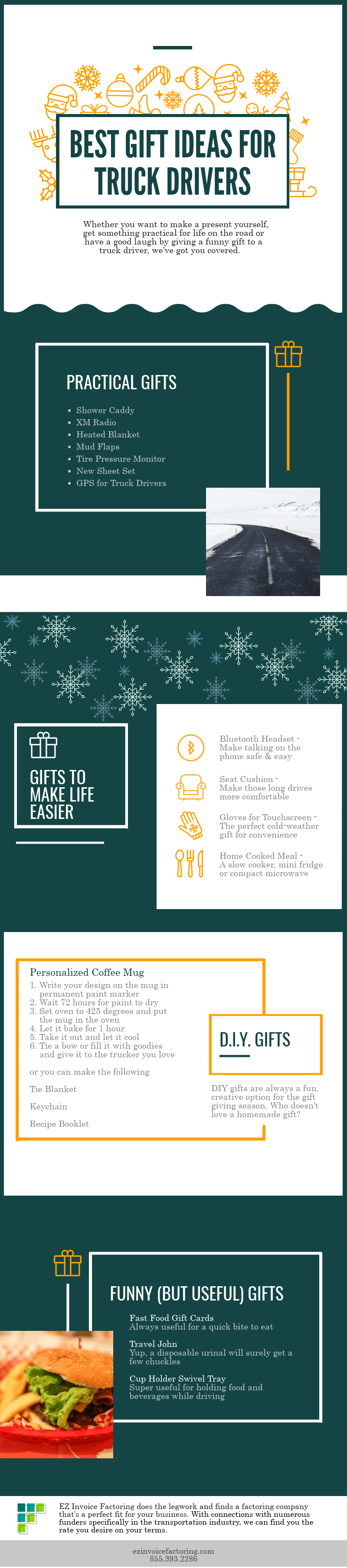 infographic about gift ideas to get truckers
